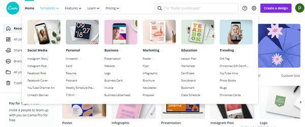 Kho lưu trữ mẫu thiết kế miễn phí được chia thành các mục chuyên biệt
